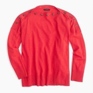 J. Crew Button Boatneck Knit Top Red/Orange